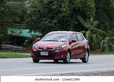 Chiangmai, Thailand - August  2 2018: New Private Car toyota Yaris Hatchback Eco Car.  Photo at road no 121 about 8 km from downtown Chiangmai thailand.