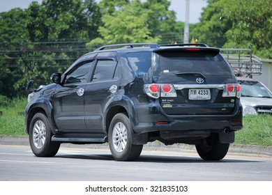 CHIANGMAI, THAILAND -AUGUST 21 2015:  Private SUV Car, Toyota Fortuner. Photo at road no 121 about 8 km from downtown Chiangmai, thailand.