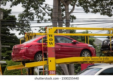 Chiangmai, Thailand - August 22 2019: Private Sedan car Toyota Vios. On road no.1001 8 km from Chiangmai Business Area.