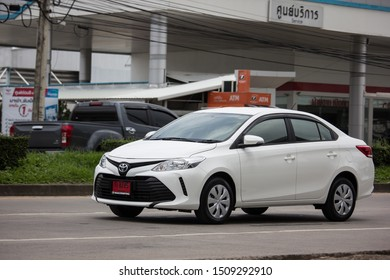 Chiangmai, Thailand - August 29 2019: Private Sedan car Toyota Vios. On road no.1001 8 km from Chiangmai Business Area.