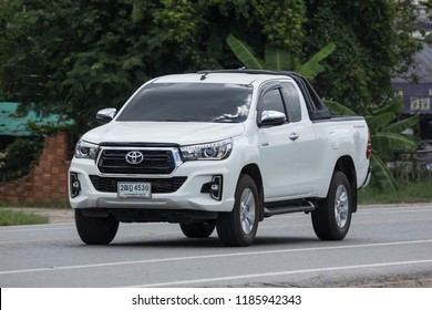 Chiangmai, Thailand - August  7 2018: Private Pickup Truck Car New Toyota Hilux Revo  Rocco. On road no.1001, 8 km from Chiangmai city.