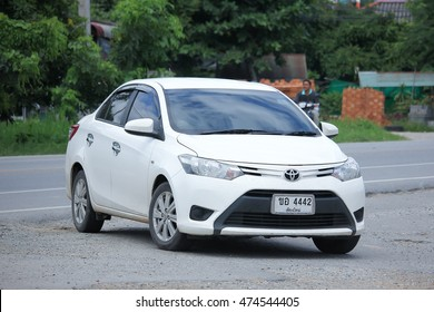 CHIANGMAI, THAILAND -AUGUST 9 2016: Private car, Toyota Vios.  On road no.1001, 8 km from Chiangmai Business Area.