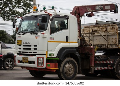 Chiangmai, Thailand - August 9 2019: Trailer dump truck of Chiangmai Pk Transport. On road no.1001, 8 km from Chiangmai city.
