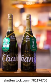 CHIANGMAI , THAILAND - DEC 26 2017: Chang beer Happy New Year Limited Edition, Chang beer has been produced since 1995 and it is top-selling brand in Thailand.