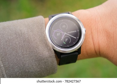 CHIANGMAI, THAILAND - DEC 26,2017 : Garmin Vivoactive 3 is the smart watch with heart rate monitor and GPG for tracking many sports activity.