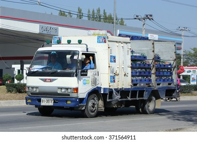 CHIANGMAI, THAILAND -DECEMBER 12 2015:  Truck of Sermsuk Company. Est cola Product. Photo at road no 121 about 8 km from downtown Chiangmai, thailand.
