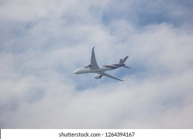 Chiangmai, Thailand - December 14 2018: HS-THF Airbus A350-900 of Thaiairway TG105. Take off from Chiangmai airport to Bangkok.