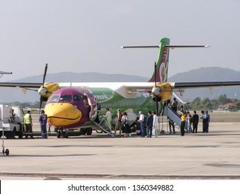 Chiangmai, Thailand - December 16 2006: HS-TRA ATR72-200 of Nokair. Flight from Chiangmai airport to Maehongson. Photo at Chiangmai airport.