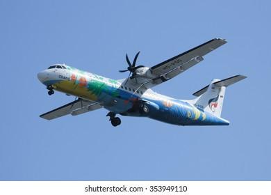 CHIANGMAI, THAILAND -DECEMBER 16 2015:  HS-PGG ATR 72-200 of Bangkok airway ,Landing to Chiangmai airport. Flight from Yangoon.