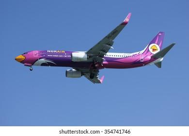 CHIANGMAI, THAILAND -DECEMBER 16 2015: HS-DBU  Boeing 737-800 of NokAir . Landing to Chiangmai airport from Bangkok.