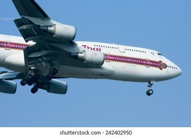 CHIANGMAI, THAILAND - DECEMBER 18 2008: HS-TGT Boeing 747-400 of Thaiairway. Landing to Chiangmai airport from Bangkok Suvarnabhumi. thailand.