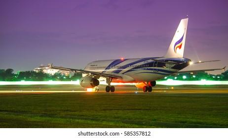 CHIANGMAI THAILAND DECEMBER 22 ,2015.Bangkok airway airline , On taxiway before takeoff from Chiangmai airport to Bangkok Suvarnabhumi. Thailand.
