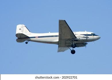 CHIANGMAI , THAILAND -DECEMBER 24  2009: 46154 Basler BT-67 (DC-3) of Royal Thai Air force. Landing to Chiangmai Airport.