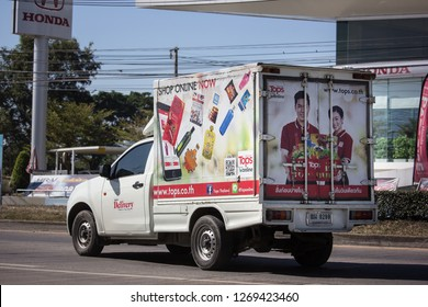 Chiangmai, Thailand - December 24 2018: Container truck of TOP Logistics Transportation company. Photo at road no.121 about 8 km from downtown Chiangmai thailand.