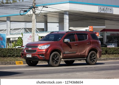 Chiangmai, Thailand - December 25 2018:  Private SUV car, Chevrolet Trailblazer. On road no.1001, 8 km from Chiangmai city.