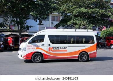 CHIANGMAI, THAILAND - DECEMBER 27 2014:  Prempracha company van no.170-999. Route Maehongson and Chiangmai. Photo at Chiangmai bus station, thailand.