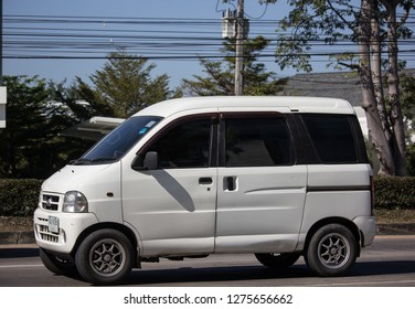 Chiangmai, Thailand - December 27 2018: Private Daihatsu old Van Car. Photo at road no.1001 about 8 km from downtown Chiangmai, thailand.