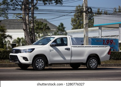 Chiangmai, Thailand - December 27 2018: Private Pickup Truck Car Toyota Hilux Revo. On road no.1001, 8 km from Chiangmai city.