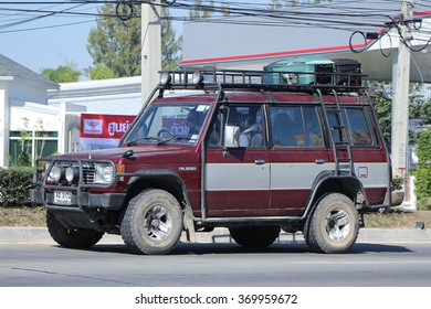 CHIANGMAI, THAILAND -DECEMBER 3 2015:    Mitsubishi Pajero Suv Car. Photo at road no.1001 about 8 km from downtown Chiangmai, thailand.