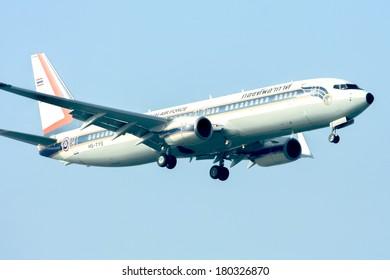 CHIANGMAI ,  THAILAND � DECEMBER  31  2011: HS-TYS Boeing 737-800 of Royal Thai Air force.  Landing to Chiangmai  Airport.
