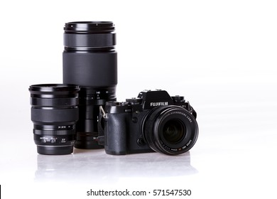 CHIANGMAI , THAILAND - FEB 2 2017: Photo of FUJIFILM X-T1 mirrorless camera and lens from the side on white background