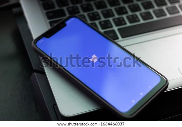 CHIANGMAI, THAILAND -FEB 28,2020:Smartphone open Twitter application,Twitter is an online social networking.
