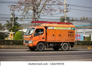 Chiangmai, Thailand - February 11 2019:  Truck of Provincial eletricity Authority of Thailand. Photo at road no.1001 about 8 km from downtown Chiangmai, Thailand.