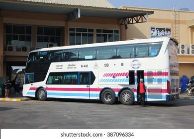 CHIANGMAI, THAILAND -FEBRUARY 13 2016:  Bus of Sombattour bus company. Route Bangkok and Chiangmai. Photo at Chiangmai bus station, thailand.