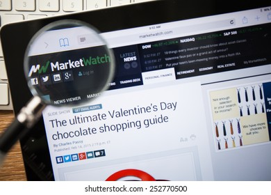 CHIANGMAI, THAILAND - FEBRUARY 15, 2015: Photo of Marketwatch.com homepage on a apple ipad screen.