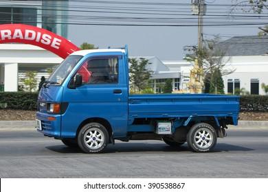 CHIANGMAI, THAILAND -FEBRUARY 16 2016:   Private Mini Truck of Daihatsu Hijet. On road no.1001, 8 km from Chiangmai city.