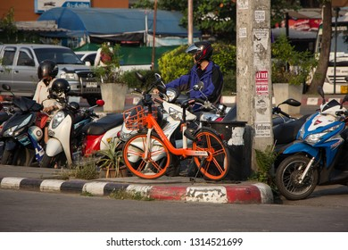 Chiangmai, Thailand - February 16 2019: Mobike bicycles at Bus Station. Bike sharing service to fulfil urban short trips.