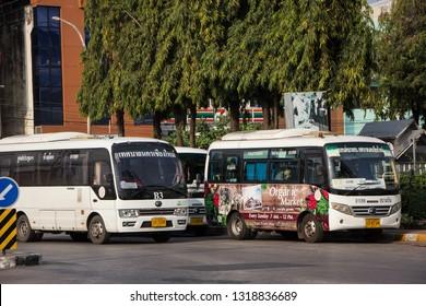 Chiangmai, Thailand - February 16 2019: Yutong Mini Bus. Bus of Chiangmai city bus or CMB. CMB management by ChiangMai Municipality. Photo at Chiangmai Bus station,Chiangmai, thailand.