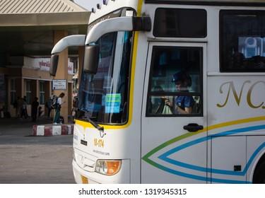 Chiangmai, Thailand - February 16 2019: Bus of Nakhonchai air. Photo at Chiangmai bus station, thailand.
