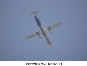 Chiangmai, Thailand - February 18 2019: RDPL-34176 ATR72-500 of Lao Airlines. In Flight Chiang mai to Luang Prabang.