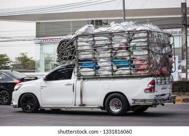 Chiangmai, Thailand - February 18 2019: Private Pickup Truck Car Toyota Hilux Revo. On road no.1001, 8 km from Chiangmai city.