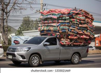 Chiangmai, Thailand - February 25 2019: Private Pickup Truck Car Toyota Hilux Revo. On road no.1001, 8 km from Chiangmai city.