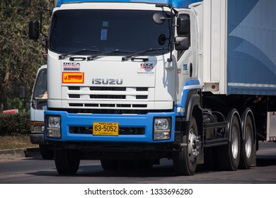 Chiangmai, Thailand - February 25 2019:  Truck of TBL. Thai Beverage Logistic. On road no.1001, 8 km from Chiangmai city.