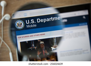CHIANGMAI, THAILAND - February 26, 2015: Photo of the U.S. Department of Veterans Affairs homepage on a ipad  monitor screen through a magnifying glass.