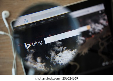 CHIANGMAI, THAILAND - February 26, 2015: Photo of Bing homepage on a ipad monitor screen through a magnifying glass.