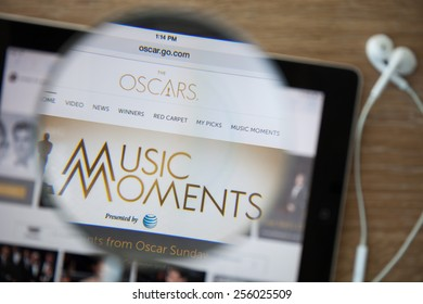 CHIANGMAI, THAILAND - February 26, 2015: Photo of the Academy Awards homepage on a ipad monitor screen through a magnifying glass.
