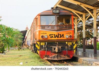 CHIANGMAI, THAILAND-  FEBRUARY 27 2013: Alsthom locomotive no.4226 at chiangmai railway station, thailand.