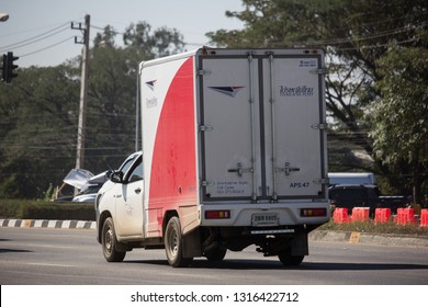 Chiangmai, Thailand - February 4 2019: Truck of Thailand Post. Photo at road no.121 about 8 km from downtown Chiangmai, thailand.