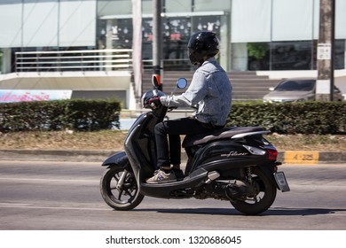 Chiangmai, Thailand - February 4 2019: Private  Automatic Scooter Yamaha Filano Motorcycle. On road no.1001, 8 km from Chiangmai Business Area.