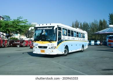 CHIANGMAI, THAILAND- FEBRUARY 7 2008: Mercedes benz bus of Nakhonchai air company bus no.18-183. (NCA GOLD CLASS). Route Bangkok and Chiangmai. Photo at Chiangmai bus station.