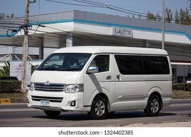 Chiangmai, Thailand - February 7 2019:  Private Toyota Ventury van. On road no.1001, 8 km from Chiangmai Business Area.