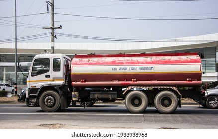Chiangmai, Thailand - February  9 2021:  Private Oil Tank Truck. On Truck on road no.1001, 8 km from Chiangmai city.