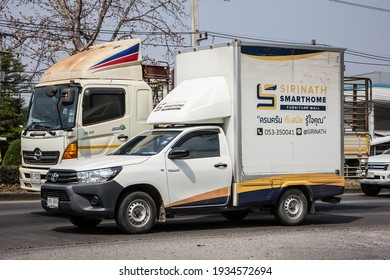 Chiangmai, Thailand - February  9 2021:  Cargo Container Pick up truck of Sirinath Smart Home. Photo at road no 121 about 8 km from downtown Chiangmai, thailand.