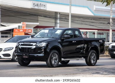 Chiangmai, Thailand - February  9 2021:  Private All New Isuzu Dmax Pickup Truck. On road no.1001 8 km from Chiangmai city.