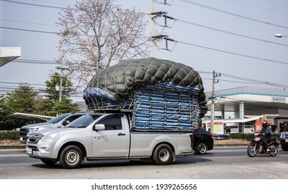 Chiangmai, Thailand - February  9 2021: Private Isuzu Dmax Pickup Truck. On road no.1001 8 km from Chiangmai city.
