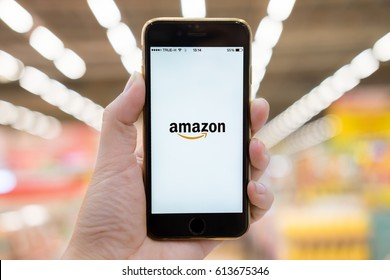 CHIANGMAI  - THAILAND  JAN 07, 2017: Amazon application on Apple iPhone 6s, Amazon is an American electronic e-commerce company distribution worlwide